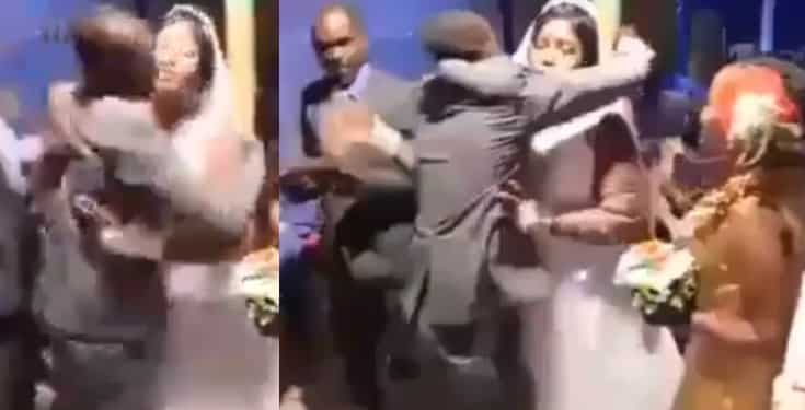 Photo of Groom beats and drags best man away from his bride, for hugging her tightly (Video)