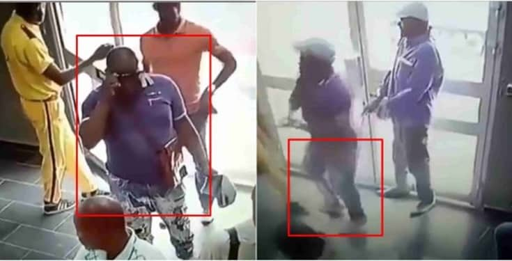 handicapped man, CCTV captures moment handicapped man stormed bank to rob with gun