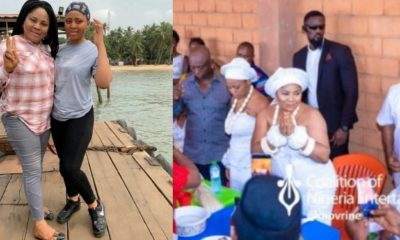 Rita Daniels, the mother of Regina Daniels, suffered an accident this morning as preparations for her daughter's traditional marriage was underway. Ms Rita Daniels, who is the chairwoman of the Delta State Actors Guild, was reportedly going around, making sure all was in place for her daughter's wedding to billionaire politician, Ned Nwoko, 59, when she stepped on a broken glass and the sharp edge pierced through her slippers and into her foot. The cut was deep and it bled profusely.