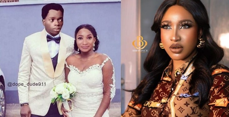 Photo of Tonto Dikeh shares photoshopped picture of her getting married to Bobrisky
