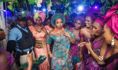 Photos: Beautiful BamBam with her Asoebi ladies on fire