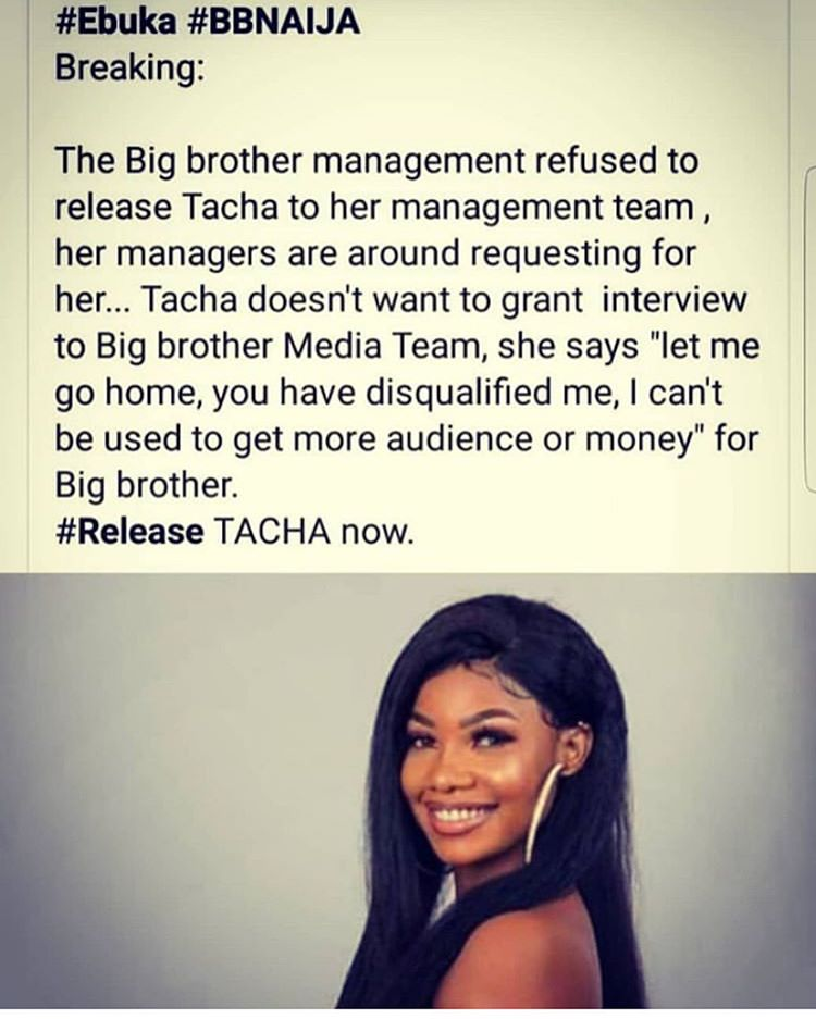 Breaking: Big Brother refuses to let Tacha see her management