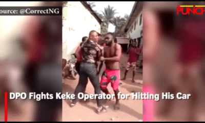 DPO Fights Keke Operator for Hitting His Car (Video)