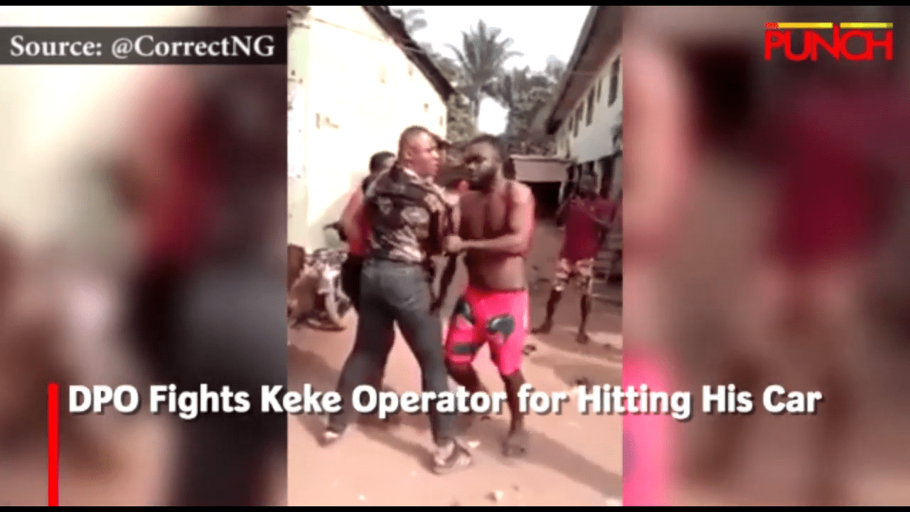 DPO Fights Keke Operator for Hitting His Car, DPO Fights Keke Operator for Hitting His Car (Video), Latest Nigeria News, Daily Devotionals & Celebrity Gossips - Chidispalace