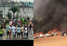 Photo of Watch TERRIFYING moment hoodlums on Bike at Protesters, set car stands on fire in Abuja (Video)
