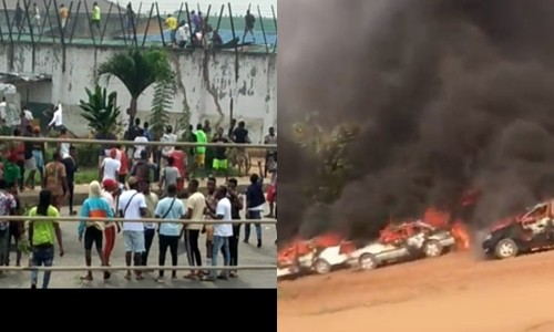 Watch TERRIFYING moment hoodlums on Bike at Protesters, set car stands on fire in Abuja, Watch TERRIFYING moment hoodlums on Bike at Protesters, set car stands on fire in Abuja (Video), Latest Nigeria News, Daily Devotionals & Celebrity Gossips - Chidispalace