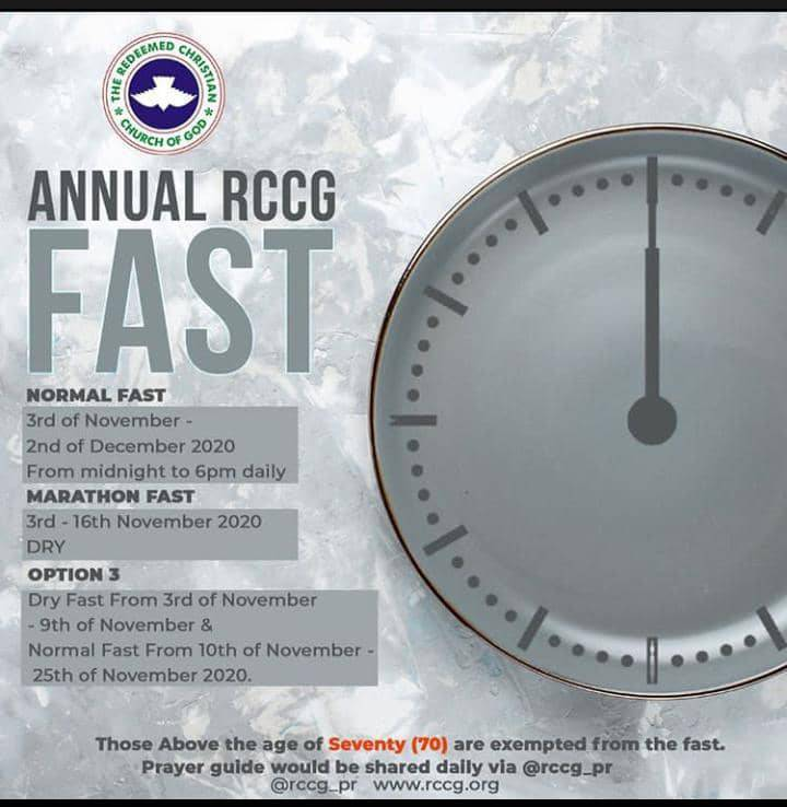 RCCG NOVEMBER 2020 FASTING PRAYER POINTS FOR 30 DAYS - Download PDF