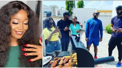BBNaija: Kiddwaya, Prince, other ex-housemates visit Lucy's grill to eat roasted plantain